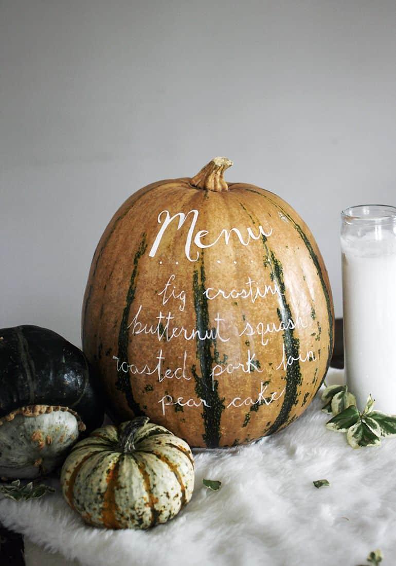 pumpkin menu centerpiece