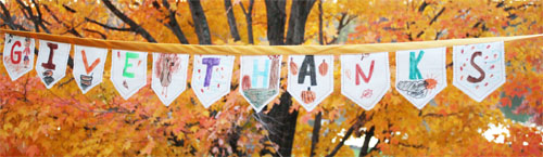 Thanksgiving Day Craft: Give Thanks Bunting