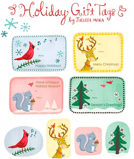 6 whimsical holiday gift tags - Printable Christmas Name Tags