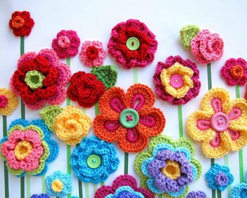 Appliques Embellisments Crafts Tiny White Cotton Colourful Crochet Flowers