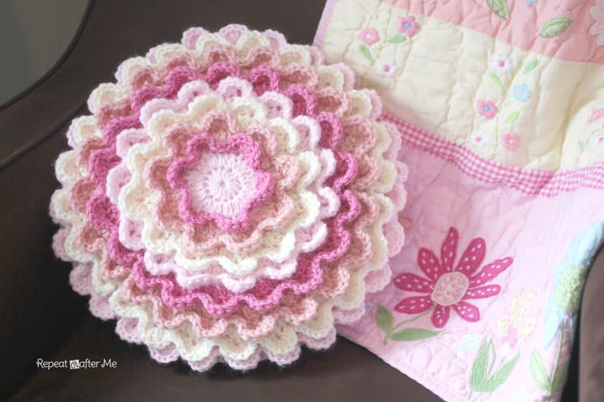 blooming crochet flower pillow