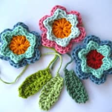 crochet flowers and leaves