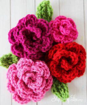 Easy Crochet Rose On Flowers