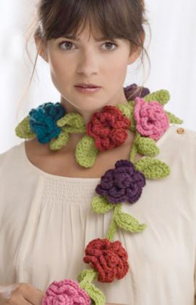 Flower Scarf Pattern from Red Heart Yarn Crochet Flower Scarves