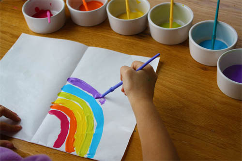 child painting a rainbow onto paper