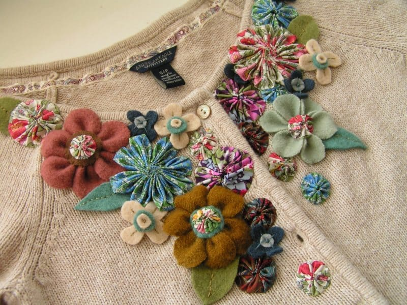 fabric flower embellished sweater
