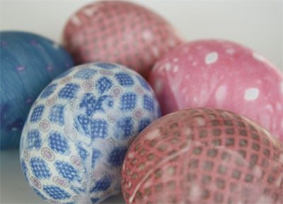 decorating easter egg - silk tie dyed eggs