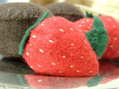 felt food strawberries