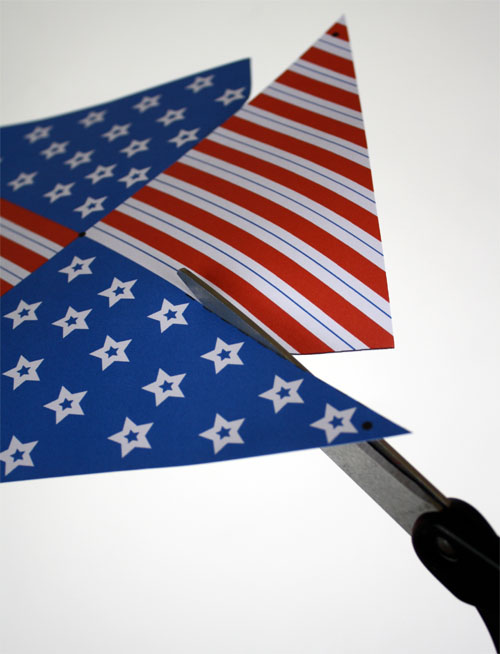cutting patriotic printable with scissors