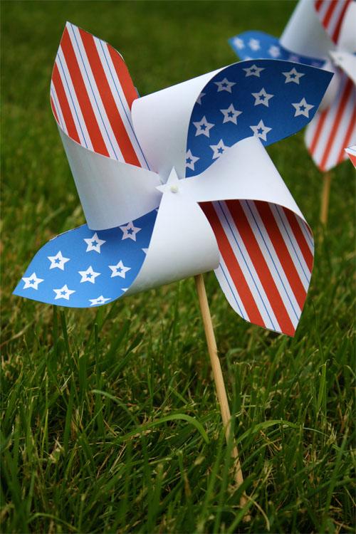 Patriotic paper pinwheel craft