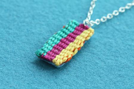 mini weaving on silver chain