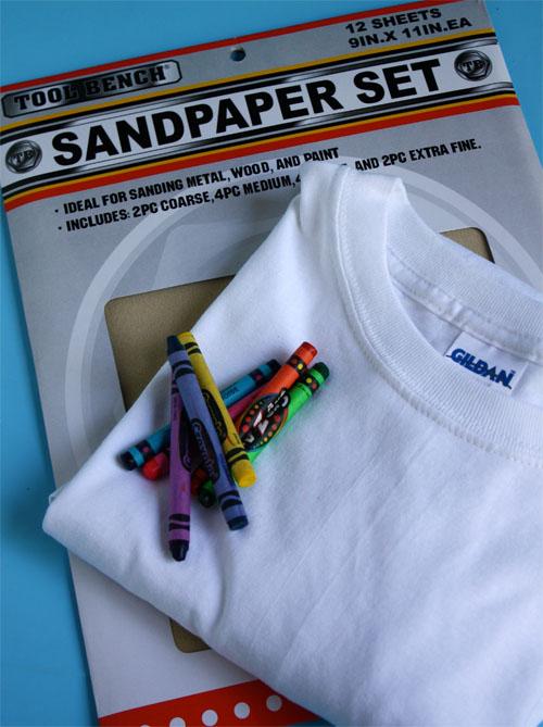 sandpaper, white tshirt, crayons