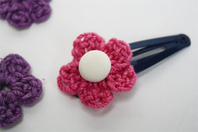 Crochet Hair Clip Pattern : ... of flower if you like. Hot glue flower to hair clip and you are done
