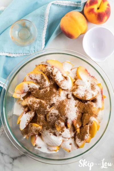 peaches with cinnamon sugar flour