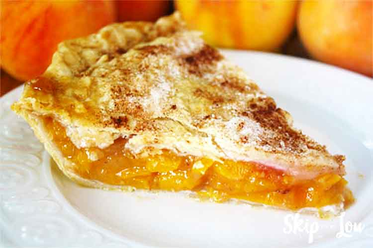 peach pie on plate