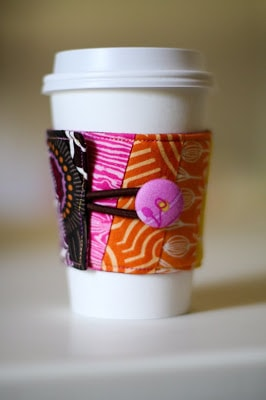 fabric coffee sleeve on a cup