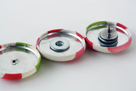 turning covered buttons into thumb tacks