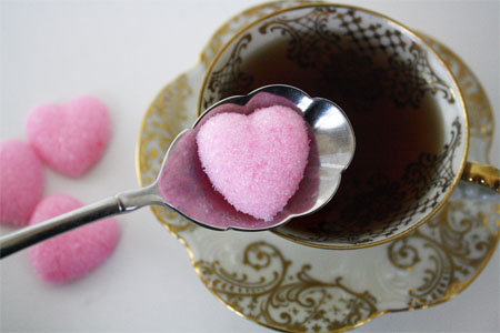 Homemade heart sugar cubees
