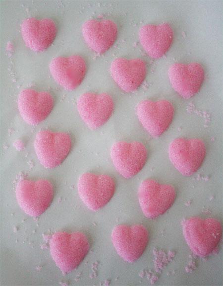 pink heart shaped sugar cubes