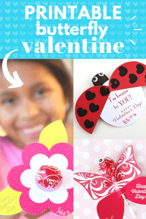 printable butterfly valentine craft PIN