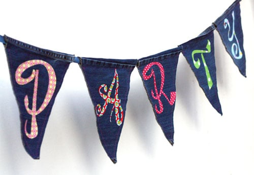 How to Upcycled Jeans Party Banner