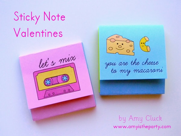 Sticky note Valentines Skip To