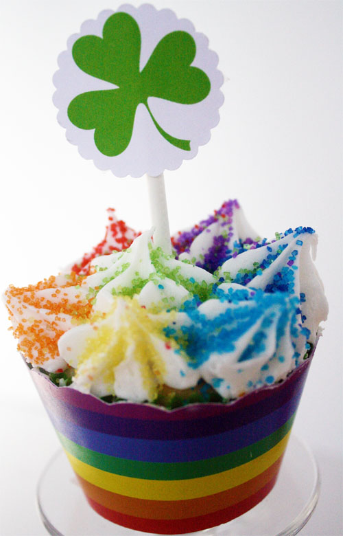 Shamrock Cupcake toppers with rainbow wrappers