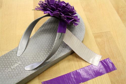 duct tap flower flip flops