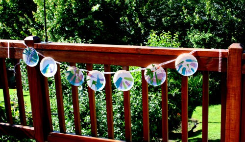 spin art made into bunting haning