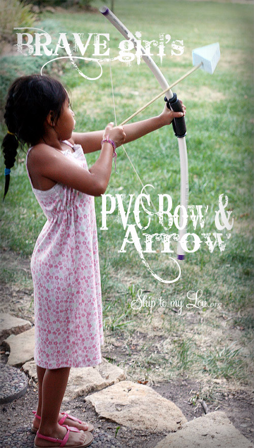 girl shooting PVC Bow And Arrow