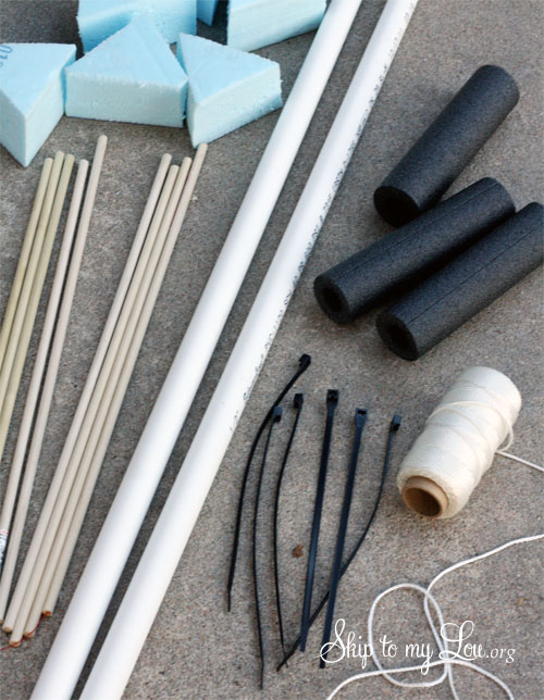 How to make a bow and arrows supplies laid out