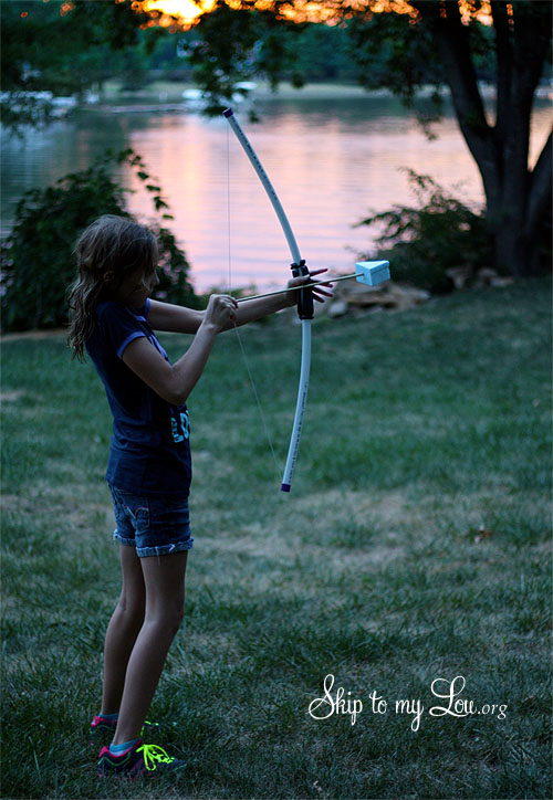 Diy pvc bow and arrow skip to my lou for Kids pvc bow