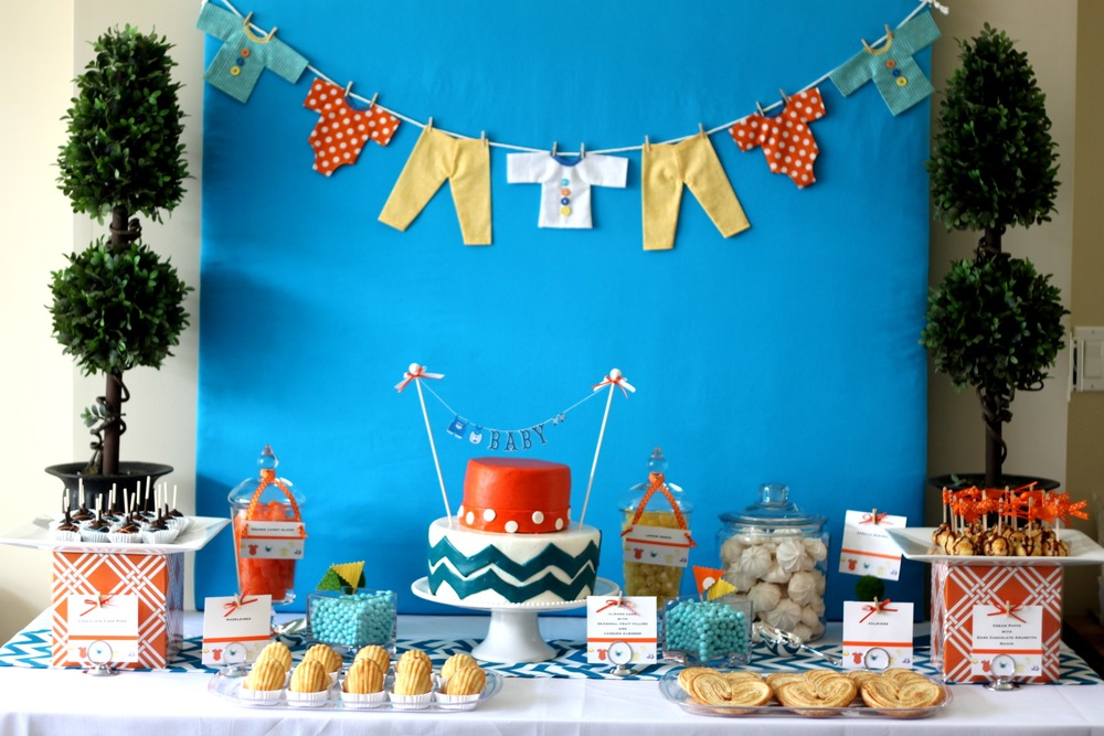 07 orange and blue chevron baby shower cake food ideas