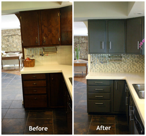 Painting Kitchen Cabinets Before And After Painting Kitchen Cabinets
