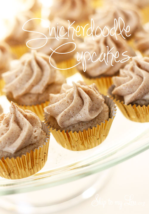 platter of mini snicerdoodle in gold cupcake wrappers with Snickerdoodle Cupcakes label