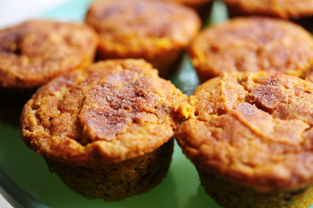 pumpkin spice muffins placed on a green plate (no frosting)