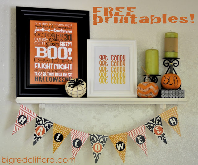 A selection of free printables that can be framed or hung these include a picture that describes Halloween, a get candy picture and streamer that has decorative triangles with the letters spelling Halloween,