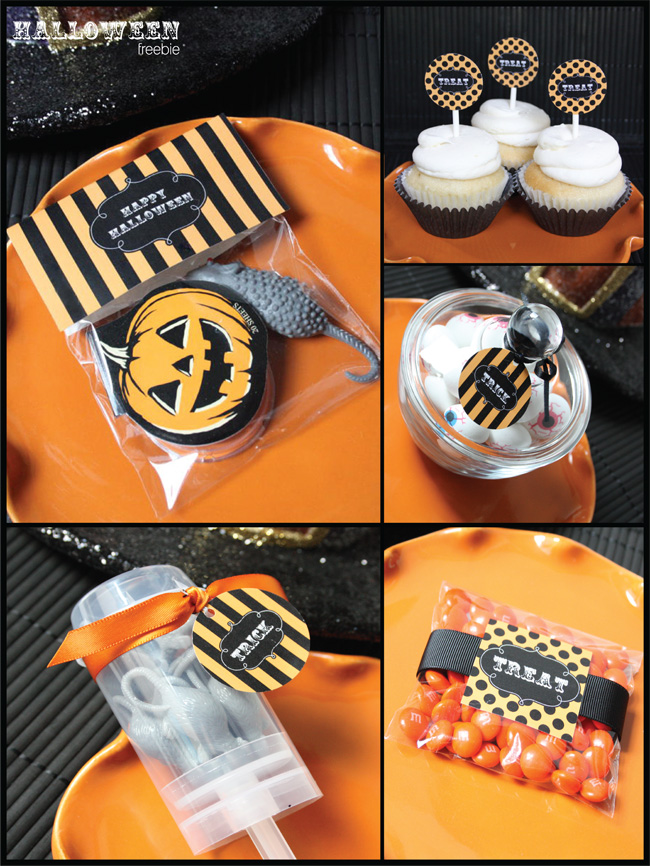 Halloween Freebies for party treats, plastic bag with black and white Happy Halloween tag (a Jack-O-Lantern cooki and rat included), black and orange treat tags for cupcakes, containers, and treat bags