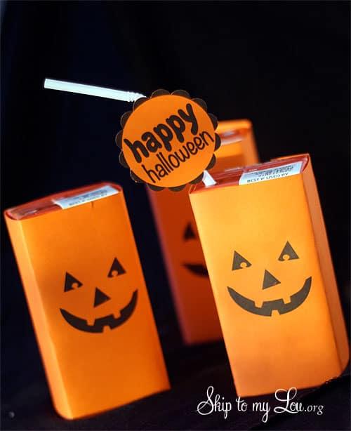 Pumpkin Face Juice Box Covers {Halloween Printable}