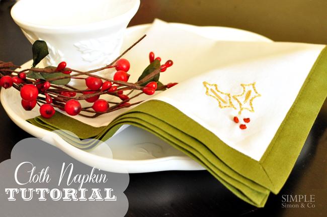 cloth napkin tutorial - Christmas Napkins Cloth