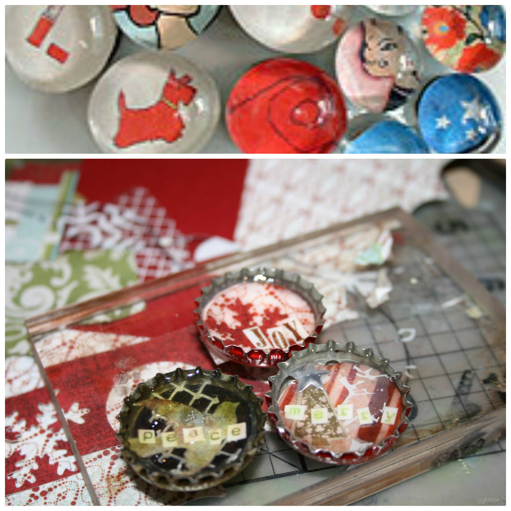 Marble and bottle cap magnets