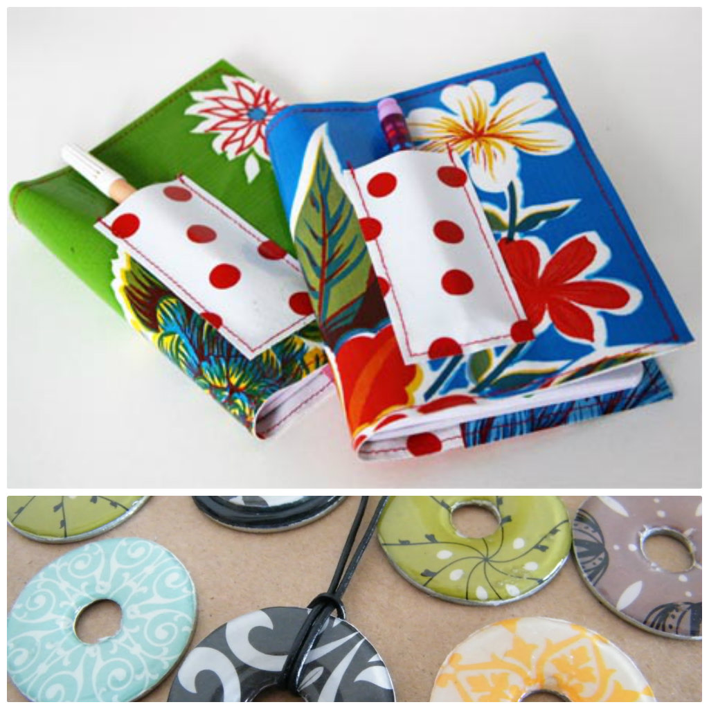 Mini oil cloth notebook cover and washer necklaces
