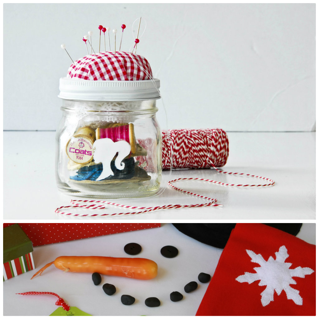 Sewing kit in a jar and snow man kit