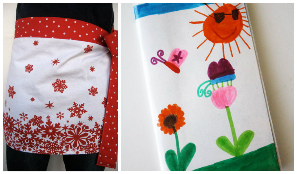 Simple tea towel apron and child's art calendar cover
