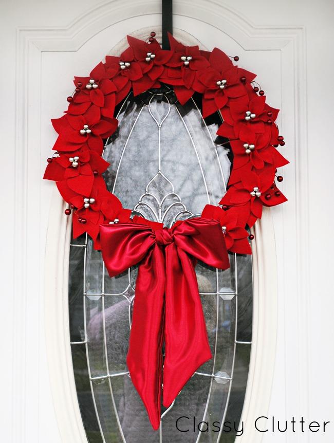 DIY Felt Poinsettia Christmas Wreath Skip To My Lou