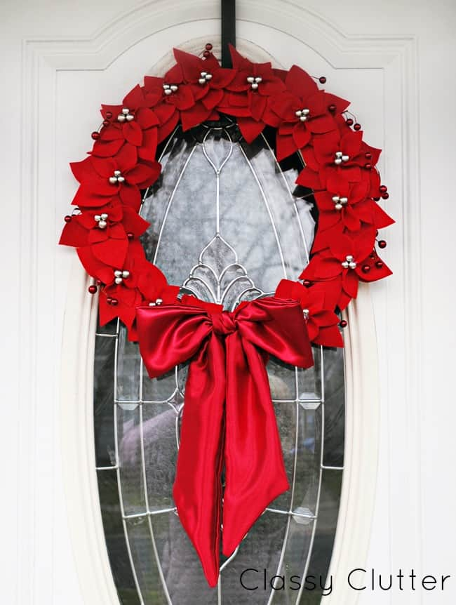 diy felt poinsettia christmas wreath