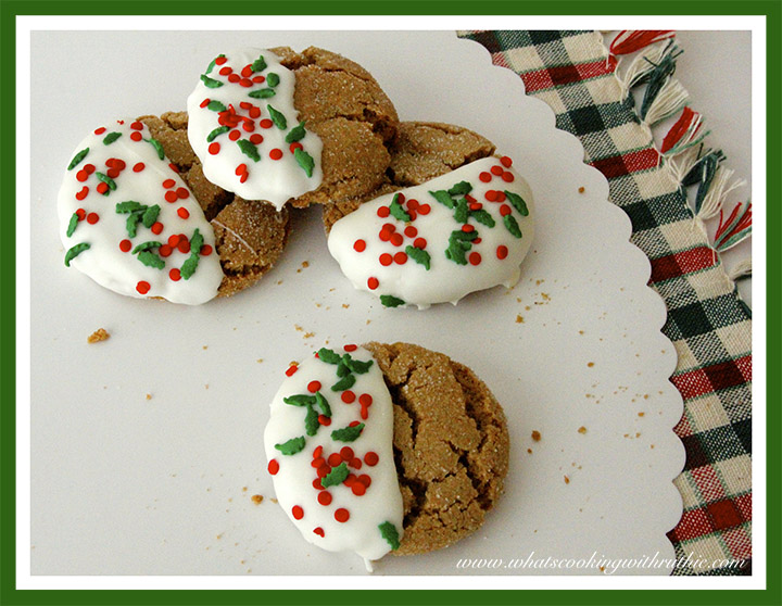 Festive Ginger Snaps by whatscookingwithruthie.com