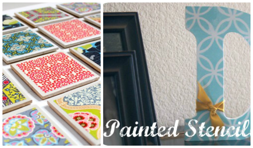 Tile Coasters and Painted Stencil