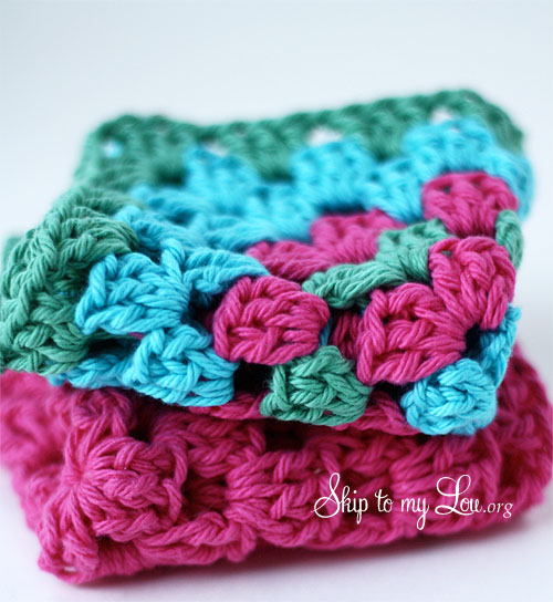 Crochet Granny Square Dishcloth Pattern : How to Crochet a Granny Square Dishcloth Skip To My Lou