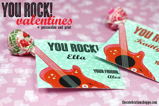 image relating to You Rock Valentine Printable identified as By yourself Rock! Printable Cl Valentines by means of The Party